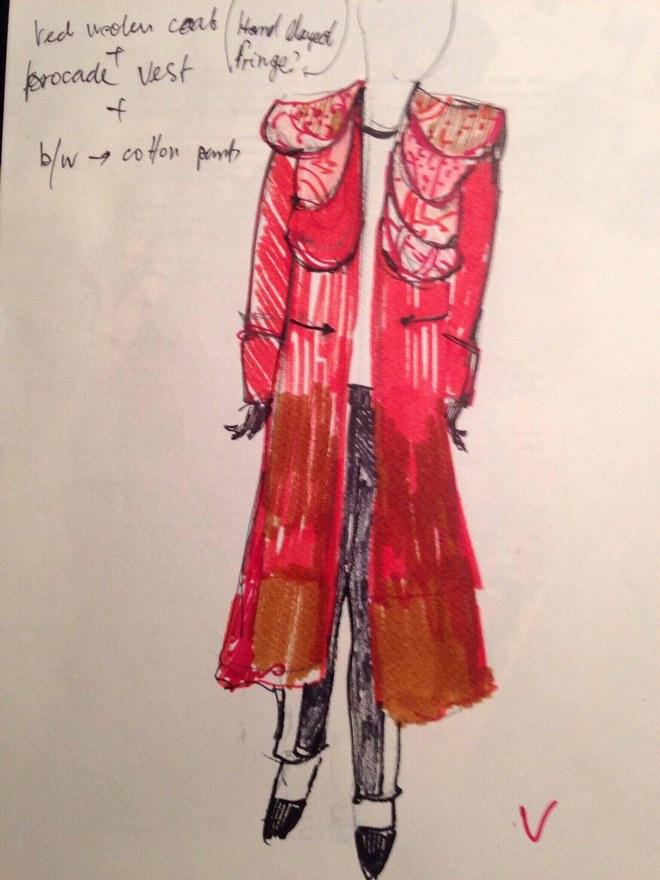 Эскиз пальто с мотивами чоха от дизайнера Саймона Мачабели за осень 2017 года