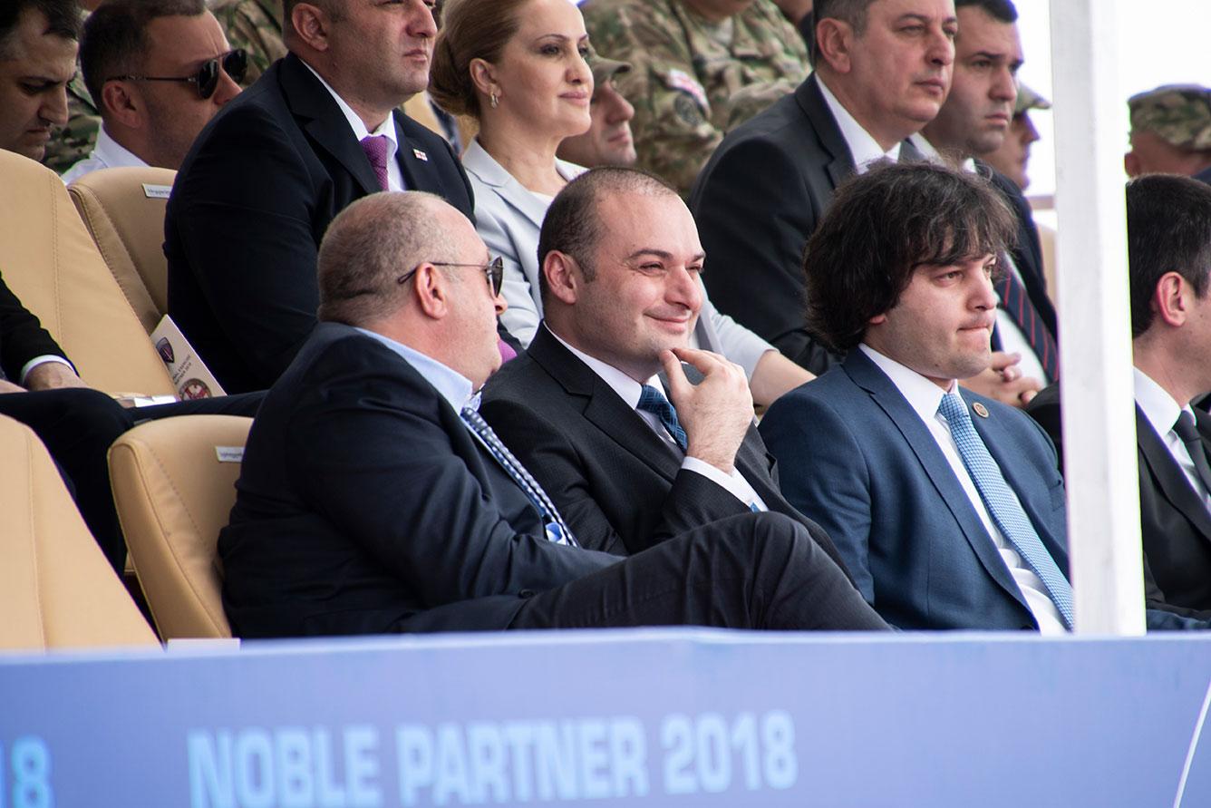 Слева направо: президент Грузии Георгий Магвелашвили, премьер-министр Мамука Бахтадзе, председатель парламента Ираклий Кобахидзе. Nobel Partner 2018