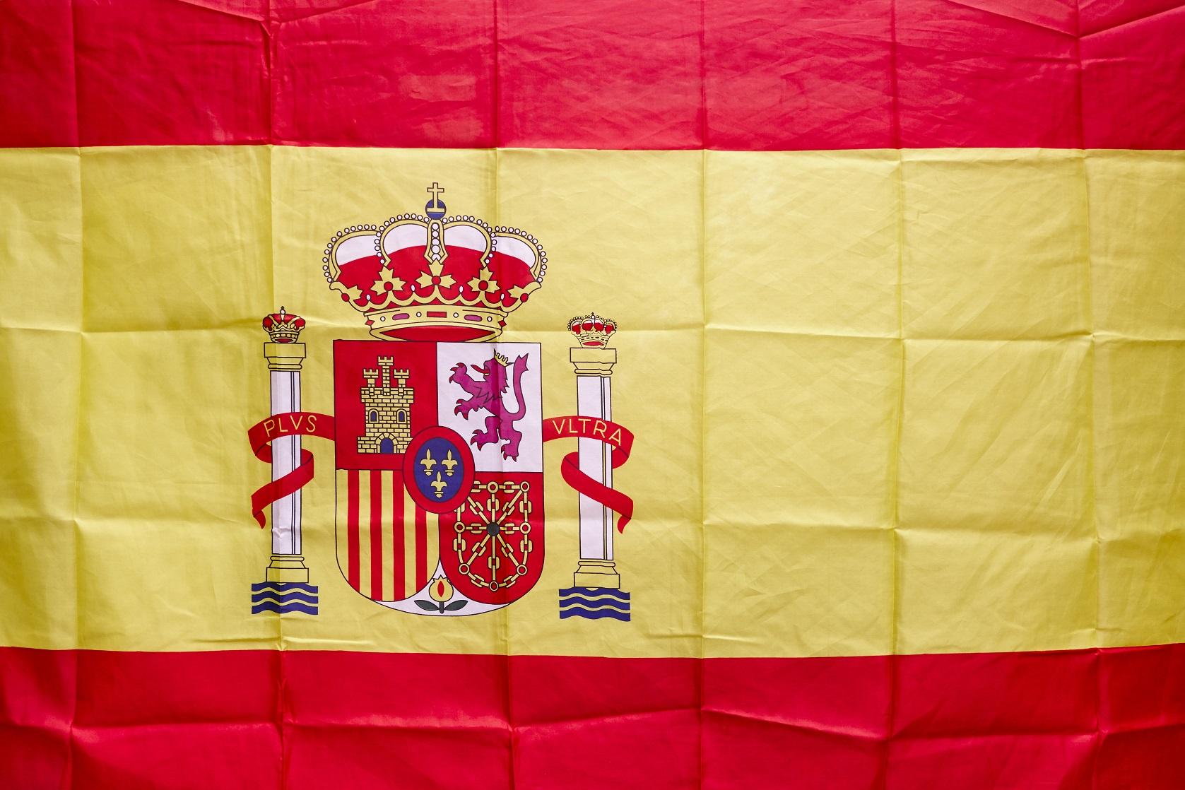 spanish flag with shield and royal crown constitut P7GPK8C #новости Грузия-Испания, Испания