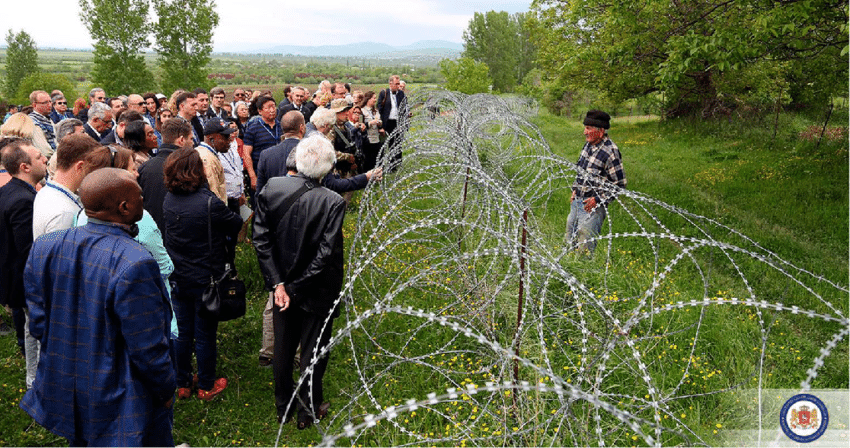 Diplomats visit Data Vanishvili in his divided property in Khurvaleti in May 2015 as part Дата Ванишвили Дата Ванишвили