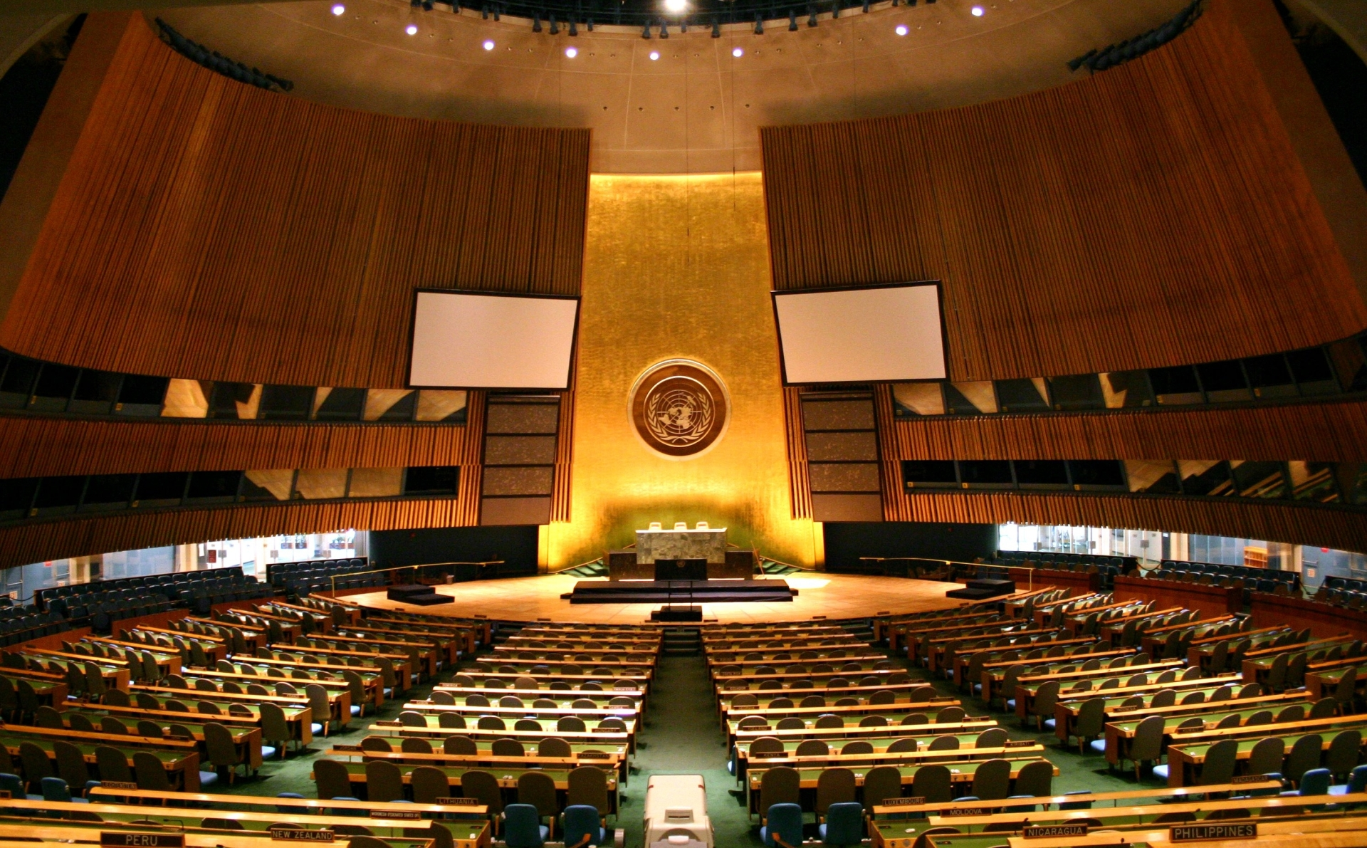 UN General Assembly hall Генассамблея ООН Генассамблея ООН